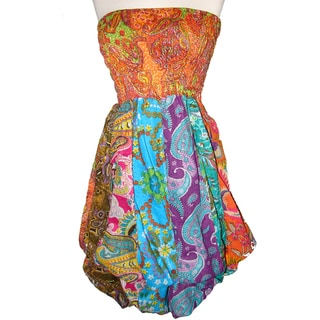 Women's Multi-colored Cotton Elastic Tube Top Sleeveless Bubble-hem Dress (Nepal)