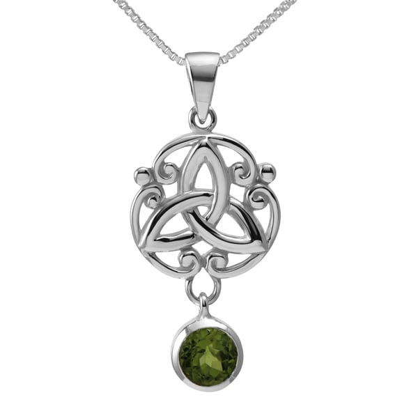 Sterling Silver Pear Cut Natural Peridot Stone Celtic w/ 18-inch Chain (Thailand)