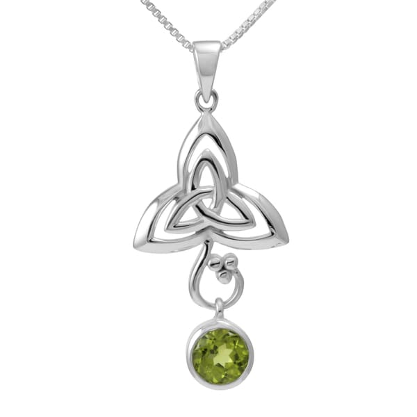 Sterling Silver Round Peridot Celtic Knot w/ 18-inch Chain (Thailand)