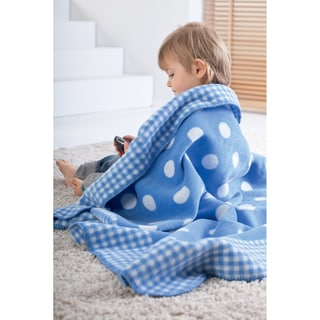Solare Kids Polka-dot and Checkered Throw Blanket