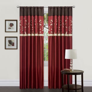Cocoa Blossom Red 84 inch Curtain Panel Pair