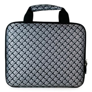 Grey black checkered suitcase