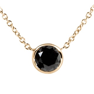 Annello 14k Yellow, White, or Rose Gold 1ct TDW Black Diamond Solitaire Bezel Necklace