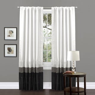 Mia White Pieced 84-inch Curtain Panel Pair