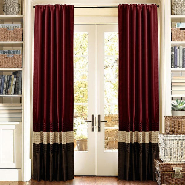 Lush Decor Mia Brown/Red Pieced 84-inch Curtain Panel Pair