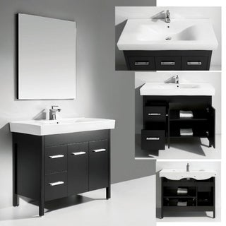 Ceramic Basin Top Single Sink Bathroom Vanity with Mirror