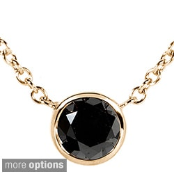 Annello 14k Yellow, White, or Rose Gold 1/2ct Black Diamond Solitaire Bezel Necklace