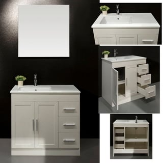 Artifical Stone Top Single Sink Bathroom Vanity with Mirror