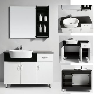 Solid Wood Top Single Sink Bathroom Vanity with Matching Mirror/ Shelf