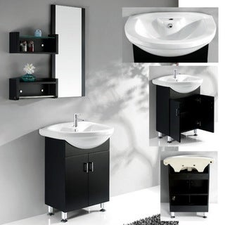 Ceramic Basin Top Single Sink Bathroom Vanity with Matching Mirror/ Shelves
