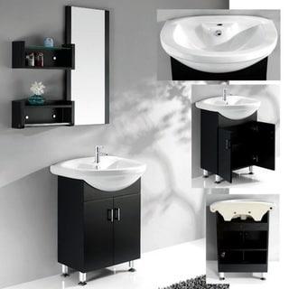 Ceramic Basin Top Single Sink Bathroom Vanity with Matching Mirror/ Shelves