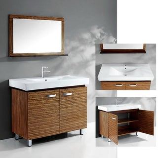 Ceramic Basin-Top Single-Sink Bathroom Vanity with Matching Wall Mirror