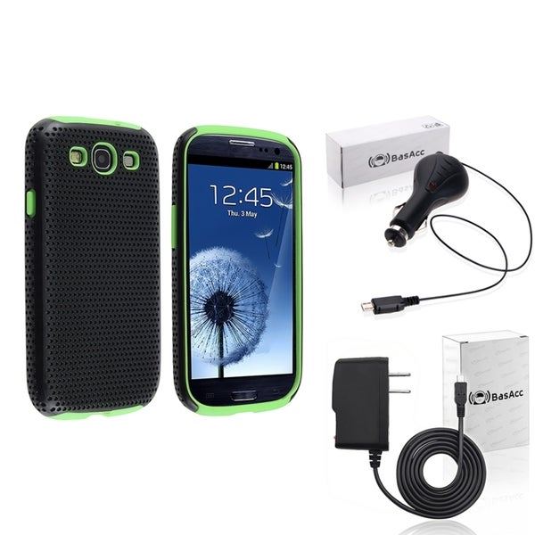 BasAcc Green Case/ Travel/ Car Charger for Samsung© Galaxy SIII/ S3