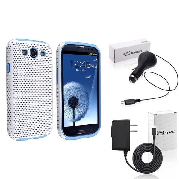 INSTEN Blue Case Cover/ Travel/ Car Charger for Samsung Galaxy SIII/ S3