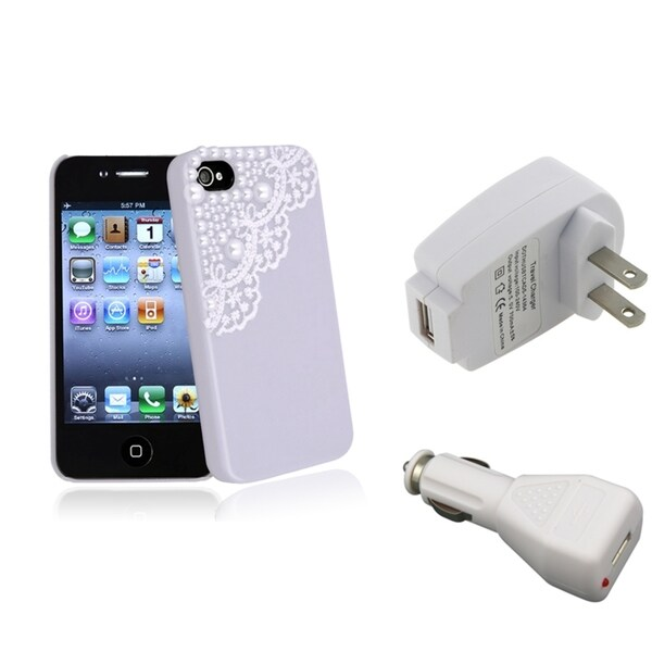 BasAcc Purple Case/ White Travel/ Car Charger for Apple® iPhone 4/ 4S