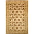 Handmade Classic Agra Beige/ Dark Brown Wool Rug (6' x 9')