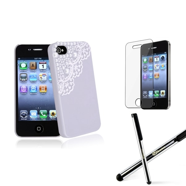 BasAcc Purple Case/ Screen Protector/ Stylus for Apple® iPhone 4/ 4S