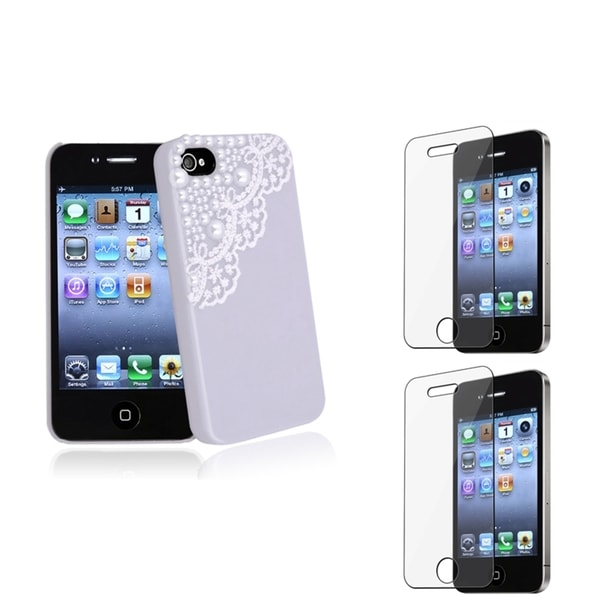 BasAcc Purple Case/ Screen Protector for Apple® iPhone 4/ 4S