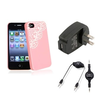 BasAcc Pink Case/ Black Charger/ Cable for Apple� iPhone 4/ 4S