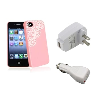 BasAcc Pink Case/ White Travel/ Car Charger for Apple� iPhone 4/ 4S