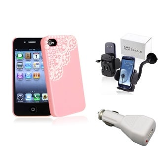 BasAcc Pink Case/ White Car Charger/ Mount for Apple� iPhone 4/ 4S