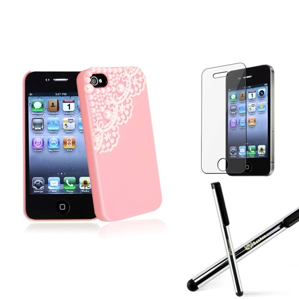 INSTEN Pink Phone Case Cover/ Screen Protector/ Stylus for Apple iPhone 4/ 4S