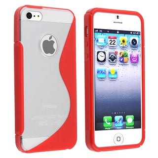 BasAcc Gummy Clear Red S Shape Case for Apple iPhone 5/ 5S