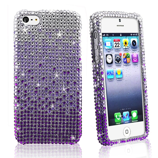 BasAcc Full Silver/ Purple Diamond Snap-on Case for Apple iPhone 5