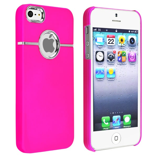 INSTEN Hot Pink with Chrome Hole Rear Snap-on Phone Case Cover for Apple iPhone 5