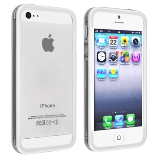 INSTEN White TPU Bumper Phone Case Cover with Aluminum Button for Apple iPhone 5/ 5S