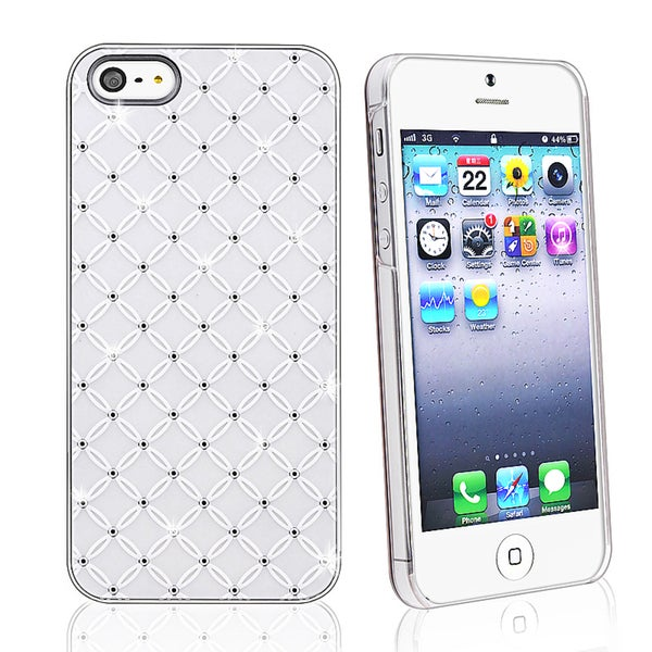 INSTEN White Lattice Diamond Snap-on Phone Case Cover for Apple iPhone 5