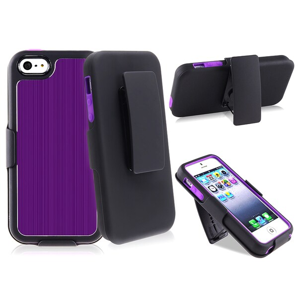 BasAcc Purple Brushed Aluminum Holster with Stand for Apple iPhone 5