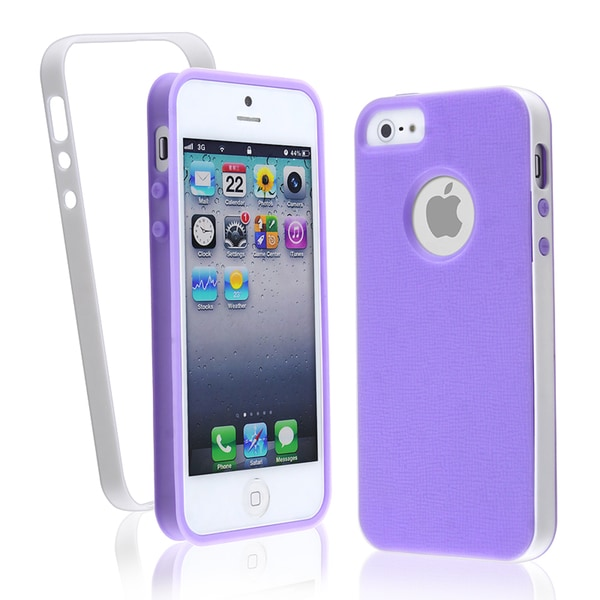 BasAcc Purple with White Bumper TPU Case for Apple iPhone 5
