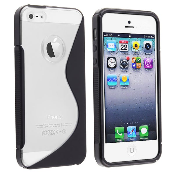 BasAcc Clear/ Black Gummy Skin Case for Apple iPhone 5