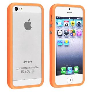 INSTEN Orange TPU Bumper Phone Case Cover with Aluminum Button for Apple iPhone 5/ 5S
