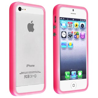 Pink BasAcc TPU Bumper Case with Aluminum Button for Apple iPhone 5