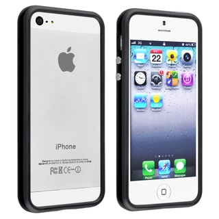 BasAcc Black TPU Bumper Case with Aluminum Button for Apple iPhone 5