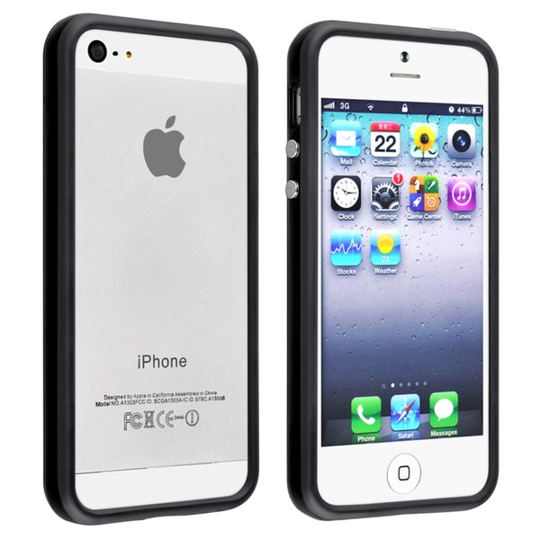 INSTEN Black TPU Bumper Phone Case Cover with Aluminum Button for Apple iPhone 5/ 5S