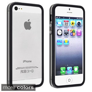 Black BasAcc TPU Bumper Case with Aluminum Button for Apple iPhone 5