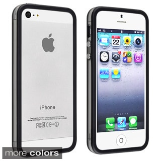 Black BasAcc TPU Bumper Case with Aluminum Button for Apple iPhone 5/ 5S