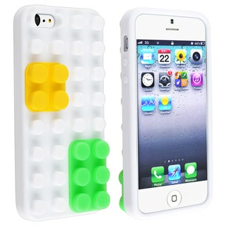 BasAcc White/ Yellow/ Green Toy Bricks Case for Apple iPhone 5
