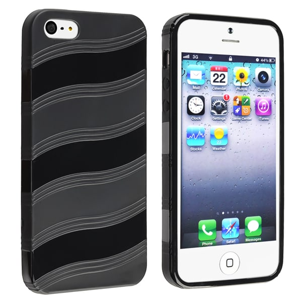BasAcc Black Wave TPU Rubber Case for Apple Phone 5