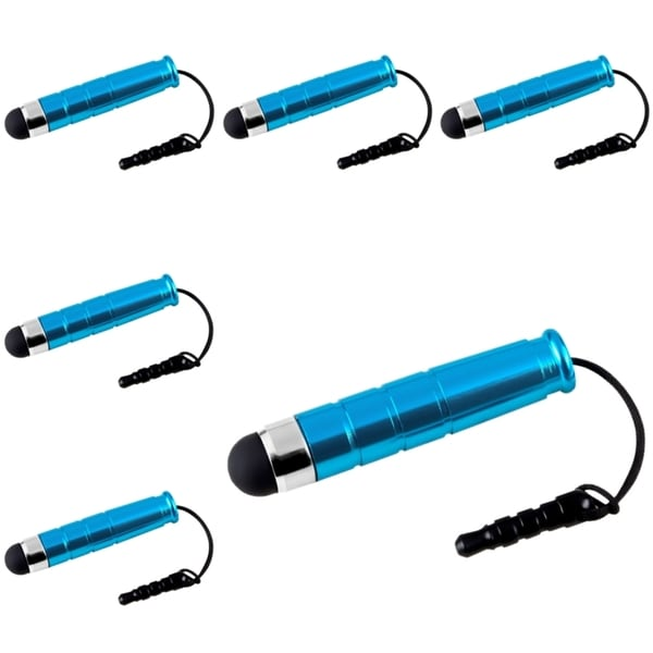 INSTEN Blue Mini Stylus for Apple iPhone/ iPod/ iPad (Pack of 6)