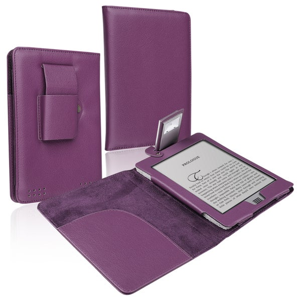 BasAcc Purple Leather Case with Light for Amazon Kindle Touch