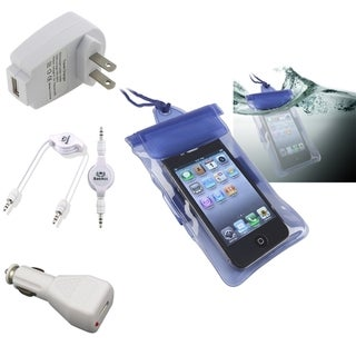 BasAcc Blue Waterproof Bag/ Chargers/ Cable for Apple� iPhone/ iPod