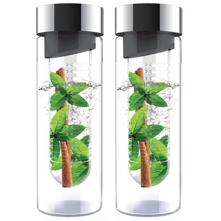 Flavour It Smoke Silver Glass Water Bottle Fruit Infuser 2-pack