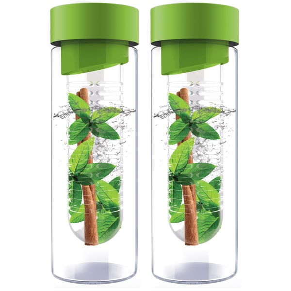 Flavour It Green Glass Water Bottle Fruit Infuser 2-pack