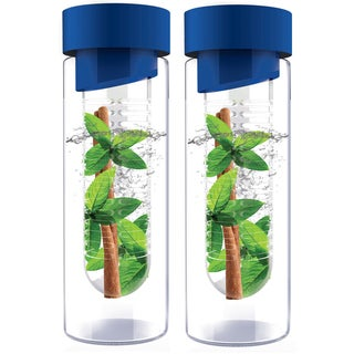 Flavour It Blue Glass Water Bottle Fruit Infuser 2-pack