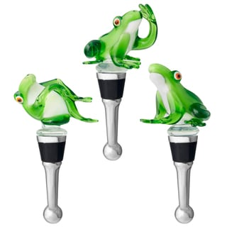 Red Vanilla Playful Frog Bottle Stoppers (Set of 3)