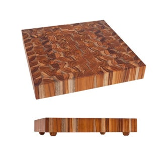 Proteak Square Chopping Block With Legs, End Grain